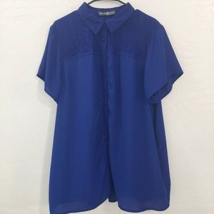 Blue Button Down Collared Lace Short Sleeve Blouse